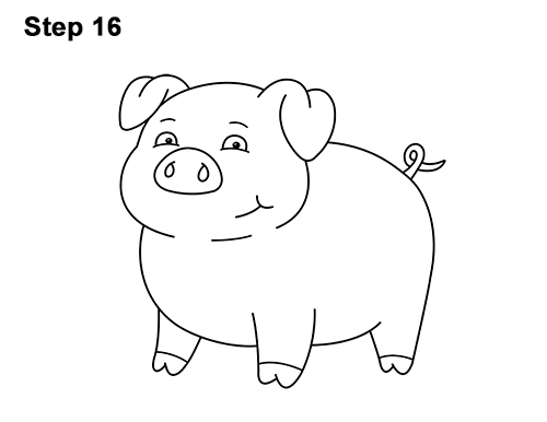 How to Draw a Cute Little Mini Funny Cartoon Pig Piglet 16