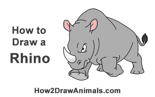 How to Draw Angry Charging Cartoon Rhino Rhinoceros
