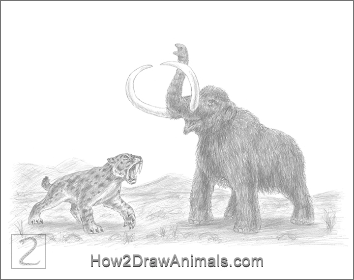 Special Smilodon Saber-Toothed Tiger vs Mammoth Drawing Pencil