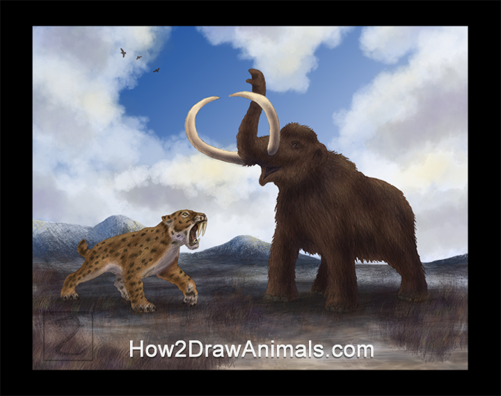 Special Smilodon Saber-Toothed Tiger vs Mammoth Drawing Color