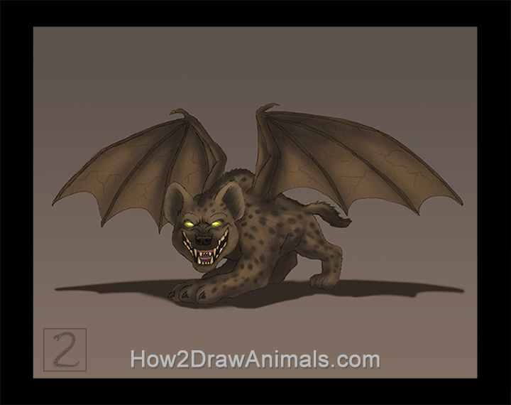 Special Winged Hyena Digital Drawing