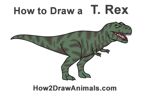How to Draw Angry Cartoon Tyrannosaurus T. Rex Dinosaur