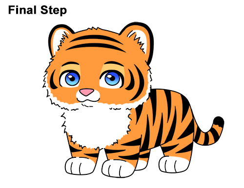 Draw Cartoon Mini Little Tiger Cub