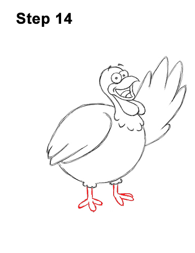 How to Draw a Thanksgiving Funny Turkey Cartoon 14