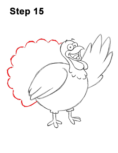 How to Draw a Thanksgiving Funny Turkey Cartoon 15