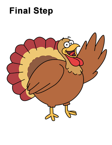 How to Draw a Thanksgiving Funny Turkey Cartoon