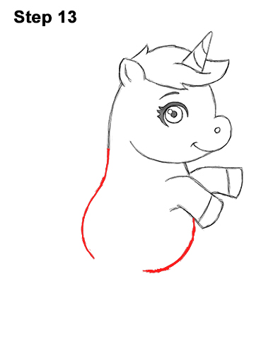 How to Draw a Cute Little Mini Chibi Cartoon Unicorn Horse Pony 13