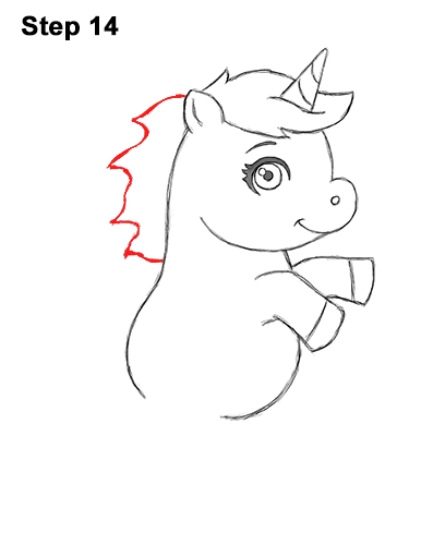 How to Draw a Cute Little Mini Chibi Cartoon Unicorn Horse Pony 14