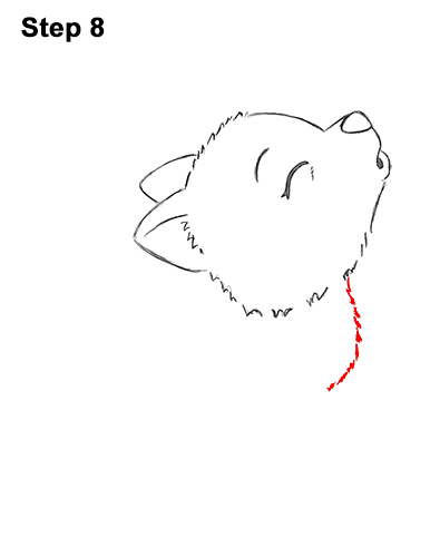 How to Draw Cute Little Cartoon Wolf Pup Cub Howling 8