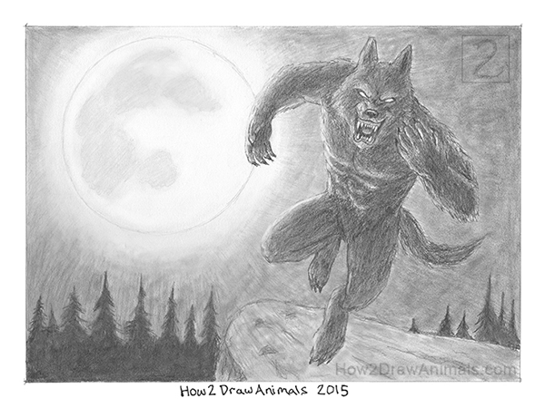 Werewolf Moon Drawing