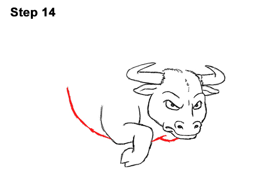 Draw Angry Mean Big Charging Cartoon Bull 14