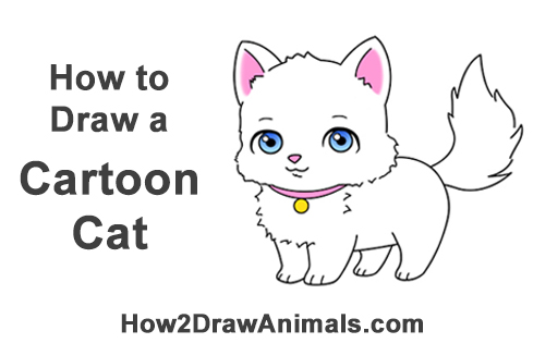 How to Draw a White Cartoon Cat Kitten Kitty