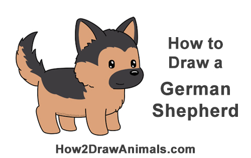 How to Draw Little Baby Small Cute Cartoon German Shepherd Puppy Dog Chibi Manga