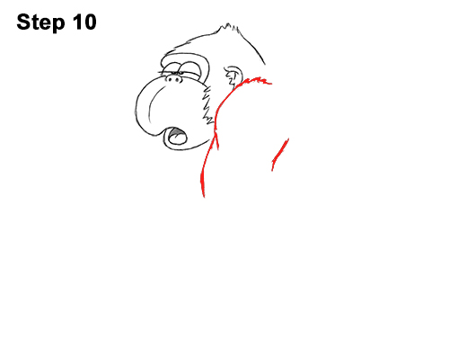 Draw Funny Goofy Cartoon Gorilla 10
