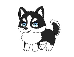 How to draw a Cute Cartoon Husky Dog