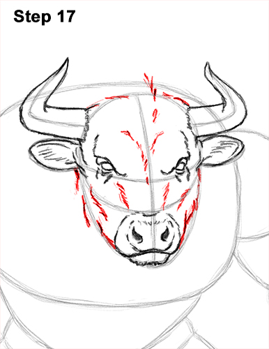 How to Draw Cool Angry Minotaur Bull Horns 17