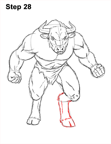 How to Draw Cool Angry Minotaur Bull Horns 28