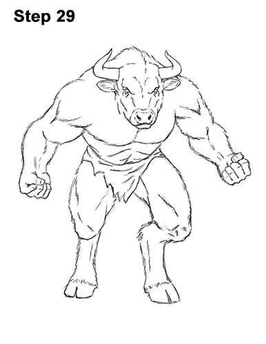 How to Draw Cool Angry Minotaur Bull Horns 29