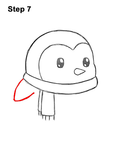 How to Draw Cute Cartoon Penguin Scarf 7