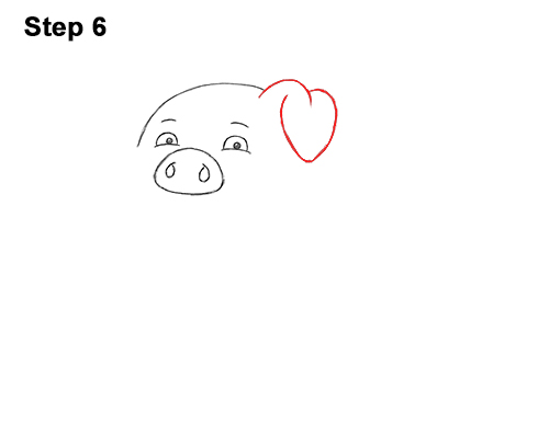 How to Draw a Cute Little Mini Funny Cartoon Pig Piglet 6
