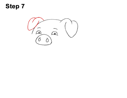 How to Draw a Cute Little Mini Funny Cartoon Pig Piglet 7