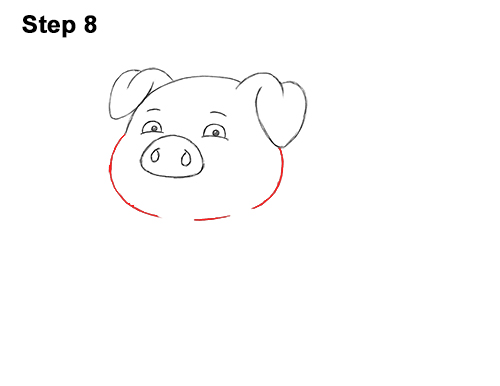 How to Draw a Cute Little Mini Funny Cartoon Pig Piglet 8