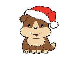 How to Draw a Puppy Dog Cartoon Santa Claus Hat Chibi Kawaii