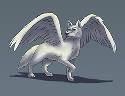 Special Digital Drawing Winged White Wolf