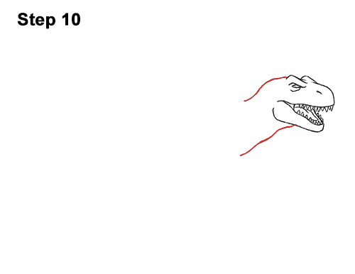 How to Draw Angry Cartoon Tyrannosaurus T. Rex Dinosaur 10