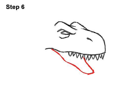 How to Draw Angry Cartoon Tyrannosaurus T. Rex Dinosaur 6