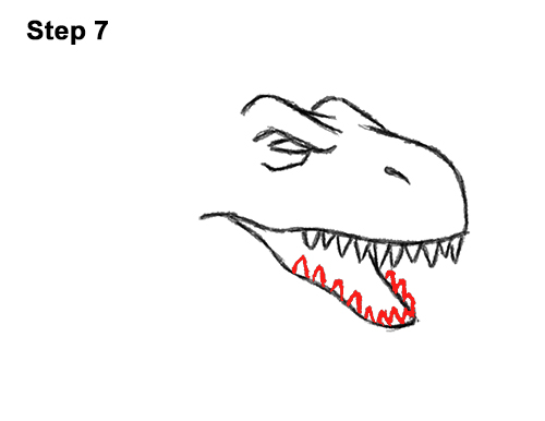 How to Draw Angry Cartoon Tyrannosaurus T. Rex Dinosaur 7