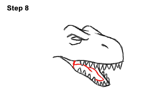 How to Draw Angry Cartoon Tyrannosaurus T. Rex Dinosaur 8