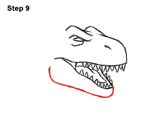 How to Draw Angry Cartoon Tyrannosaurus T. Rex Dinosaur 9