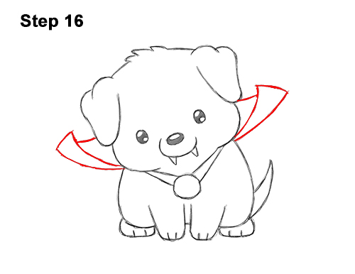 How to Draw Cute Cartoon Puppy Dog Vampire Dracula Halloween 16