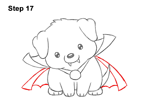 How to Draw Cute Cartoon Puppy Dog Vampire Dracula Halloween 17