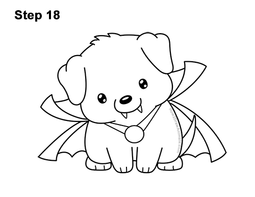 How to Draw Cute Cartoon Puppy Dog Vampire Dracula Halloween 18