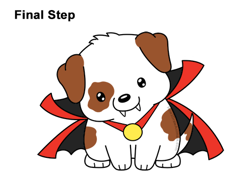 How to Draw Cute Cartoon Puppy Dog Vampire Dracula Halloween