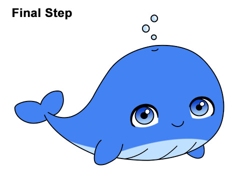How to Draw Cute Cartoon Blue Whale