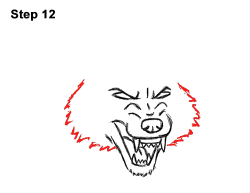 Draw Angry Mean Snarling Cartoon Wolf 12
