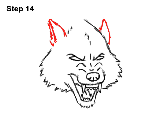 Draw Angry Mean Snarling Cartoon Wolf 14