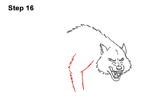 Draw Angry Mean Snarling Cartoon Wolf 16