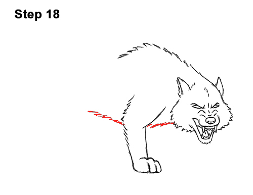 Draw Angry Mean Snarling Cartoon Wolf 18